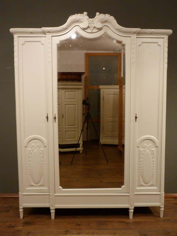 dreit rer jugendstil schrank eiche weiss lasiert um 1910 ebay. Black Bedroom Furniture Sets. Home Design Ideas
