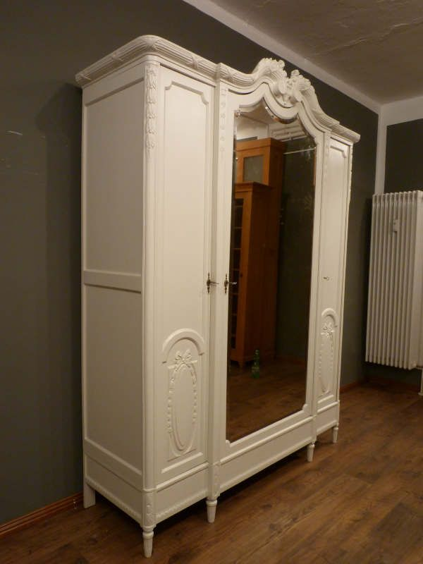 dreit rer jugendstil schrank eiche weiss lasiert um 1910 ebay. Black Bedroom Furniture Sets. Home Design Ideas