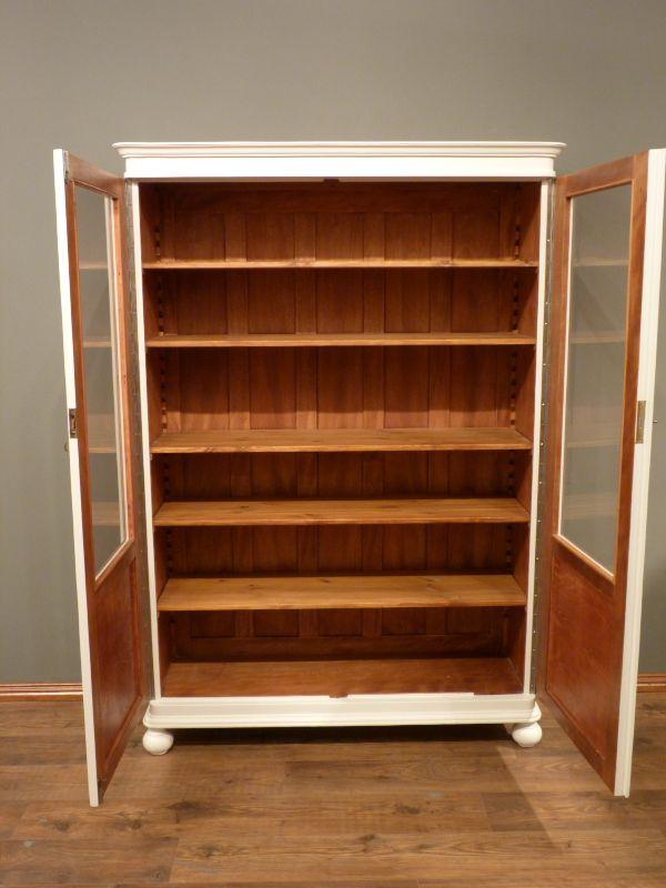 jugendstil b cherschrank eiche weiss lasiert um 1910 ebay. Black Bedroom Furniture Sets. Home Design Ideas